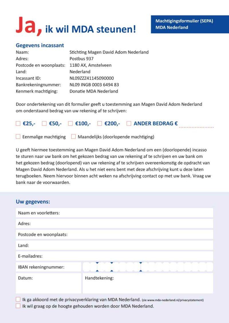 Machtigingsformulier MDA Nederland